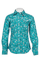 Cowgirl Hardware Girls Floral Aqua Long Sleeve Rhinestone Snap Western Shirt