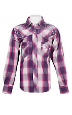 Cowgirl Hardware Girls Pink, Purple and White Plaid with White Horse Swirl Embroidery Long Sleeve Western Shirt