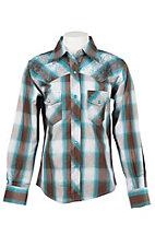 Cowgirl Hardware Girls White, Brown, and Turquoise Plaid with White Swirl Embroidery Long Sleeve Western Shirt
