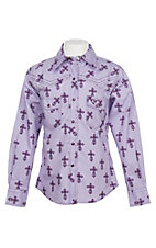 Cowgirl Hardware Girls Mini Cross Print Snap Western Shirt