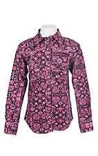 Cowgirl Hardware Girl's Black with Pink Paisley Long Sleeve Western Shirt