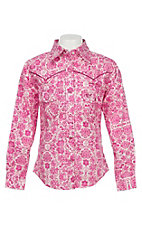 Cowgirl Hardware Girl's Pink Peacock Long Sleeve Western Snap Shirt