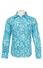 Cowgirl Hardware Girl's Turquoise Peacock Long Sleeve Western Snap Shirt