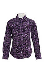 Cowgirl Hardware Girl's Purple Peacock Long Sleeve Western Snap Shirt