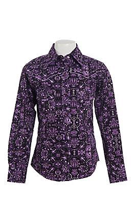 Cowgirl Hardware Girl's Purple Peacock Long Sleeve Western Snap Shirt