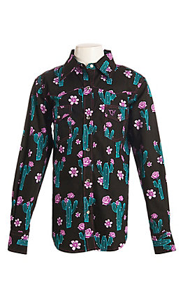 Cowgirl Hardware Girls Black with Rose Cactus Print Long Sleeve Western Shirt