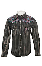 Cowgirl Hardware Girls Brush Dye Long Sleeve Rhinestone Snap Western Shirt