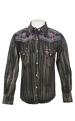 Cowgirl Hardware Girls Brush Dye Long Sleeve Rhinestone Snap Western Shirt