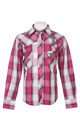 Cowgirl Hardware Girls Pink Plaid and Black Long Sleeve Western Shirt