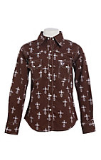 Cowgirl Hardware Girls Brown Steel Cross Print Long Sleeve Western Shirt