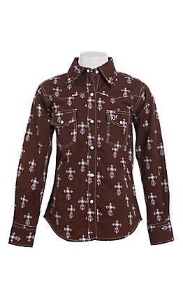 Cowgirl Hardware Girls Brown Steel Cross Print Long Sleeve Western Shirt