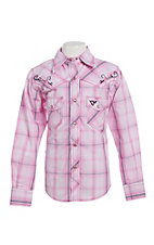 Cowgirl Hardware Girls Pink Plaid Long Sleeve Western Shirt