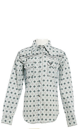 Cowgirl Hardware Girls' White with Turquoise Medallion Print and Black Cross Long Sleeve Western Shirt