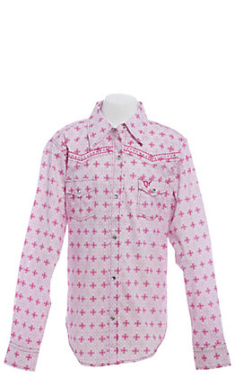 Cowgirl Hardware Girls' Pink and White Medallion Print Long Sleeve Western Shirt