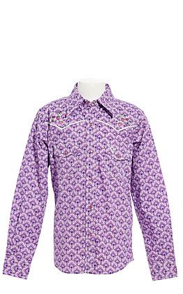Cowgirl Hardware Girls' Purple Leaf Print with Cactus Long Sleeve Western Shirt