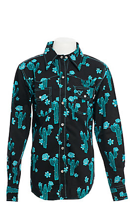 Cowgirl Hardware Girls' Black with Turquoise Cactus Print Long Sleeve Western Shirt