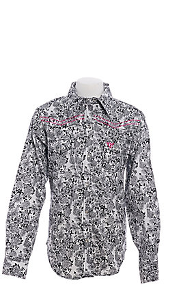 Cowgirl Hardware Girls' Black and White Floral Print Long Sleeve Western Shirt
