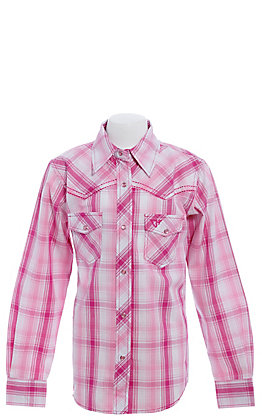 Cowgirl Hardware Girls' Pink & White Plaid with Skull Long Sleeve Western Shirt