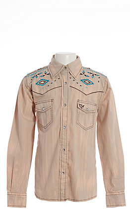 Cowgirl Hardware Girls' Tan Brush Dye with Turquoise Aztec Horse Long Sleeve Western Shirt