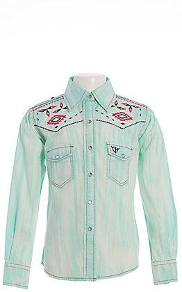 Cowgirl Hardware Girls' Mint Brush Dyed Long Sleeve Western Shirt