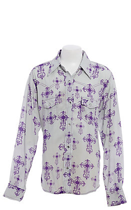 Cowgirl Hardware Girls' Grey with Purple Crosses Long Sleeve Western Shirt