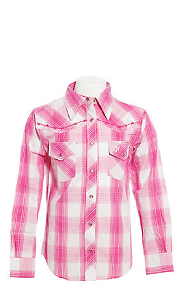 Cowgirl Hardware Girls' Pink and White Plaid with Zebra Cross Long Sleeve Western Shirt