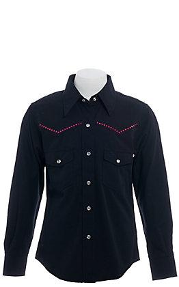 Cowgirl Hardware Girl's Black Horse Long Sleeve Western Shirt