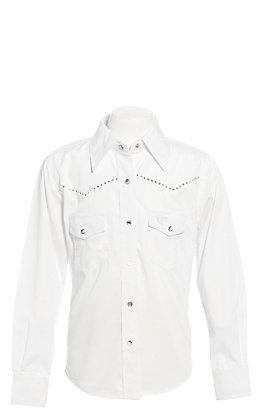 Cowgirl Hardware Girls' White with Studded Cross Long Sleeve Western Shirt
