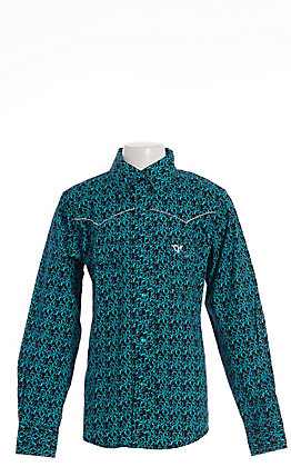 Cowgirl Hardware Girls' Black with Turquoise Filigree Heart Horse Long Sleeve Western Shirt