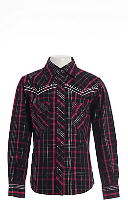 Cowgirl Hardware Girls' Black and Pink Plaid with Horses Long Sleeve Western Shirt