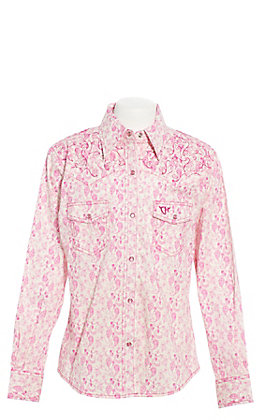 Cowgirl Hardware Girls' White with Pink Paisley Print and Horse Long Sleeve Western Shirt