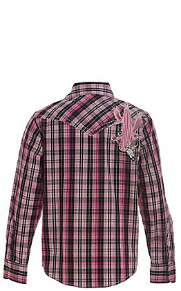 Cowgirl Hardware Girls' Pink and Black Plaid with Cactus and Skull Long Sleeve Western Shirt