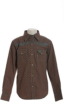 Cowgirl Hardware Girls' Brown Feather Print with Cross Long Sleeve Western Shirt