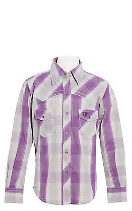 Cowgirl Hardware Girls' Purple and Grey Plaid with Horse Embroidery Long Sleeve Western Shirt