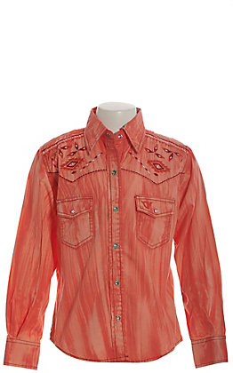 Cowgirl Hardware Girls' Coral Brush Dye with Aztec Embroidery Long Sleeve Western Shirt