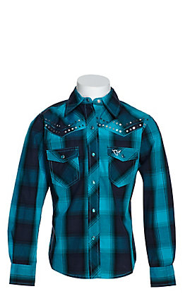 Cowgirl Hardware Girls' Turquoise and Black Plaid with Sequins Long Sleeve Western Shirt