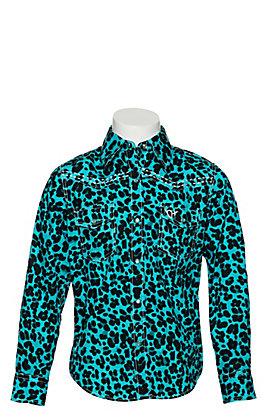 Cowgirl Hardware Girls Turquoise Leopard Print Long Sleeve Western Shirt