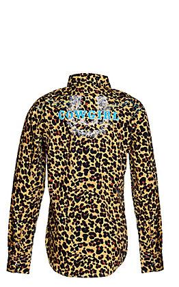 Cowgirl Hardware Girls' Leopard Print with Horseshoe Cowgirl Long Sleeve Western Shirt