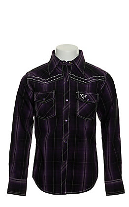 Cowgirl Hardware Girls' Purple and Black Plaid with Cross Embroidery Long Sleeve Western Shirt