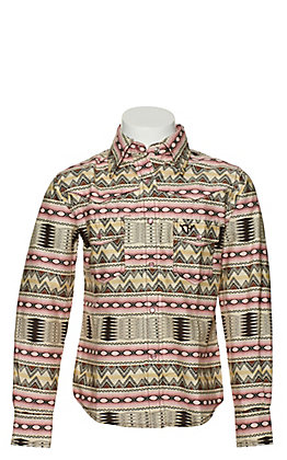 Cowgirl Hardware Girls Cream and Pink Aztec Print Long Sleeve Western Shirt