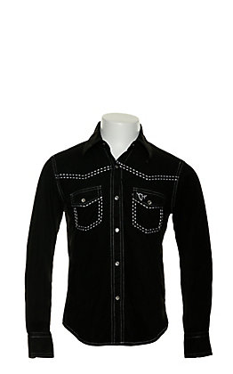 Cowgirl Hardware Girls' Black Faux Suede with White Horse Embroidery Long Sleeve Western Shirt