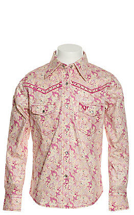 Cowgirl Hardware Girls' Ivory with Pink Country Floral Print Long Sleeve Western Shirt