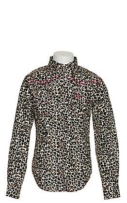 Cowgirl Hardware Girl's Leopard Print Long Sleeve Western Shirt