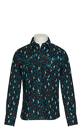 Cowgirl Hardware Girls Black with Blue Cactus Print Long Sleeve Western Shirt