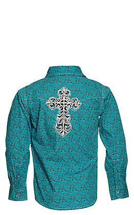 Cowgirl Hardware Girl's Turquoise and Brown Bramble Print Long Sleeve Western Shirt
