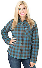 Outback Trading Company Women's Turquoise & Brown Check Long Sleeve Fleece Big Shirt