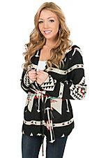 Montanaco Women's Black Dakota Navajo Print Hooded Jacket