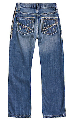 Wrangler 20X Boys' Breaking Barriers Medium Wash Slim Fit Vintage Boot Cut Jean (8-16)
