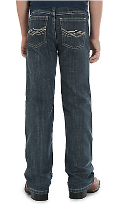 Wrangler 20X Boys' Glasgow Dark Wash Slim Fit Stretch Vintage Boot Cut Jean (4-7)
