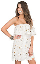 Judith March Women's Beige with White Lace Strapless Dress